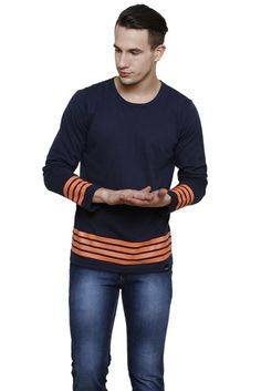 #RIGO #Navy #Solid with #Orange #Stripe Long Sleeve Round Neck #Tee