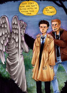 Bbc castiel crossover dean winchester doctor who fan art scifi supernatural weeping angel - 6255857408 Destiel, Superwholock, Vs Angels, Weeping Angels, Under Armour, Doctor Who Fan Art, Fanart, Fandom Crossover, Supernatural Fandom