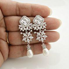 Bridal Earrings Pearl Bridal Jewelry Crystal and by poetryjewelry