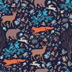 Dekorativa mönster med vilda djur. Hand Rita Seamless mönster av tyg, papper och andra utskrift och web projekt