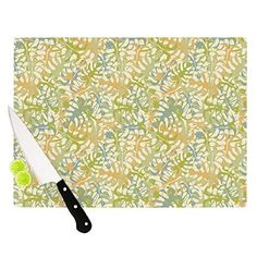 "Kess InHouse Julia Grifol ""Warm Tropical Leaves"" Cutting Board, 11.5 by 15.75-Inch, Multicolor: Kitchen & Dining, cutting board #green #kitchen #pattern #leaves #kessinhouse"