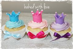 Colorfull Princess crown cupcakes Crown Cupcakes, Cupcake Cookies, Barbie Birthday, Third Birthday, Disney Princess Cupcakes, Cupcake Ideas, Shower Ideas, Baby Shower, Colorful