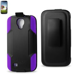 Reiko Silicone Case+Protector Cover Samsung Galaxy S 4 Purple Black Holster With Clip