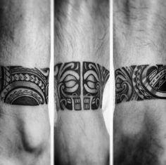 Artistic Male Ankle Band Hawaiian Tribal Tattoo Ideas