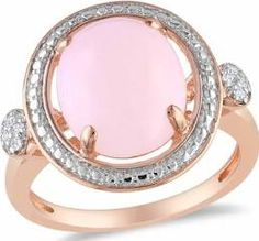 2 Carat T.G.W. Cabochon Pink Opal and Diamond-Accent Pink Rhodium-Plated Sterling Silver Cocktail Ring, Size: 6