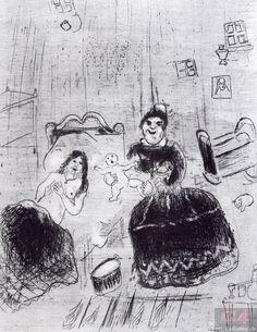 «Мертвые души». Глава 11. Рождение Чичикова. Художник М. Шагал. 1923–1925