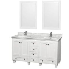 Wyndham Collection Acclaim 60 in. Double Vanity in White with Marble Vanity Top in Carrara White, Square Sink and 2 Mirrors-WCV800060DWHCMUNSM24 - The Home Depot