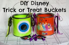 DIY Disney-themed Trick or Treat Buckets | Home is Where the Mouse is