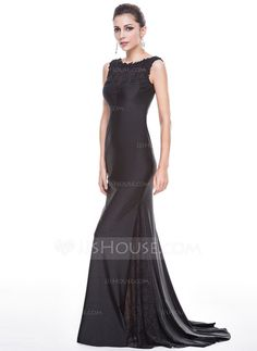 Trumpet/Mermaid Scoop Neck Sweep Train Lace Jersey Evening Dress With Beading Sequins (017056151)