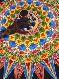 Traditionally Painted Oxcart Wheel, Costa Rica Photographic Print by Ken Gillham