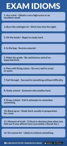 Exam idioms in English