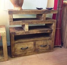 CHUNKY-FUNKY-SOLID-WOOD-TV-UNIT-STAND-CABINET-RUSTIC-PLANK - I bought this 25 October 2014 from rawfurniture.co.uk via eBay for our TV, Sky+ box, Apple TV and Soundbar