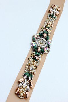 KNR Handmade Emerald Rose Gold Crystal Bridal Belt-Vintage Wedding-One of a Kind Hand Stitched