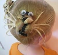 Halloween Spiders in her hair!Totally neeed to try this in V's hair!Although @she; stevely,methinks r's hair is long enough!x