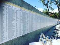 @wehoarts @calartsredcat art installation in progress. These panels list the names of thousands of refugees who perished in Europe since the 90s. #immigration #refugee #publicart