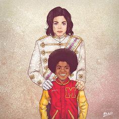 Michael Jackson criança aparece junto de sua versão adulta em ilustração do colombiano Fulvio Obregon (Foto: Behance/Fulaleo)