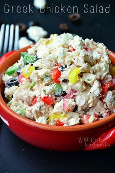 Greek Chicken Salad. It's a chicken salad made with feta cheese, tomatoes, olives, bell peppers, Greek yogurt and many more goodies!