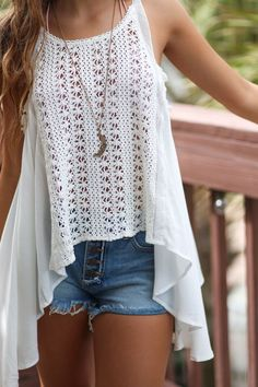 White Hot Crochet Front Swing Tank
