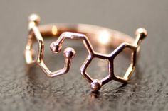 Dopamine and Serotonin Molecule Ring in 925 Sterling Silver.  Dopamine and Serotonin together in one ring. Dopamine is a neurotransmitter in