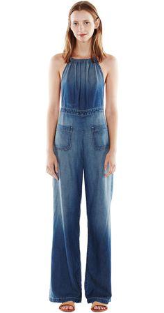 Premium Denim, Jeans & Clothing for Women Backless Jumpsuit, Halter Jumpsuit, Estilo Jeans, Designer Jeans For Women, Denim Fashion, Womens Fashion, Designer Jumpsuits, Flare Pants, Jean Outfits