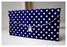Navy Blue Polka Dot  Clutch Purse Navy Bridesmaid by hoganfe