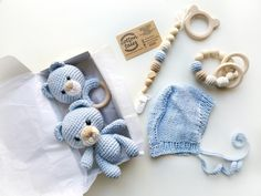 Excited to share this item from my shop: MOM TO BE baby boy blue bear gift box Twin Baby Gifts, Blue Teddy Bear, Baby Boy Toys, Teddy Bear Gifts, Teddy Bear Baby Shower, Knitted Baby Blankets, Crochet Bear, Baby Rattle, Gifts For New Moms