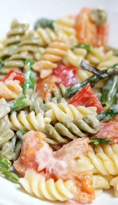Pasta with Garlic Roasted Vegetables and Cream Sauce