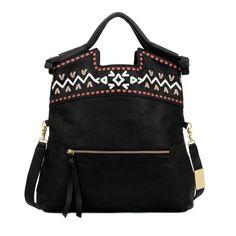 Embellished Weave Mid CityTote -Black-OS