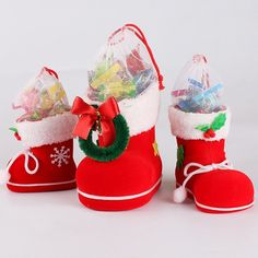 Red Flocking Boots Candy Holder Stores Candy Boots Candy Box Candy Bags