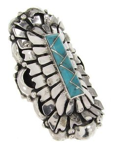 Turquoise Inlay Sterling Silver Ring Size 7-1/4 PS60580