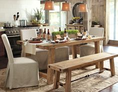 also love this for a formal dining room, I think the bench adds a whole new element to it that feels rustic