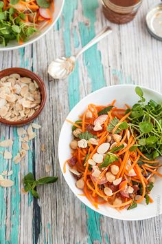 This vegetarian Moroccan carrot salad is divine mix of spices, honey dates and chickpeas. Top with toasted flaked almonds.