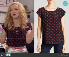 Liv's lips print top Liv and Maddie.  Outfit Details: http://wornontv.net/49796/ #LivandMaddie