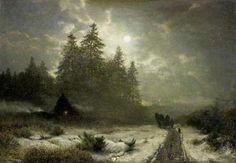 Sophus Jacobsen Wintry sleigh ride in moonlight
