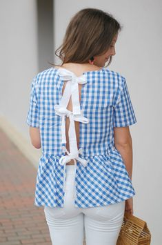 Gingham Bow Back Top