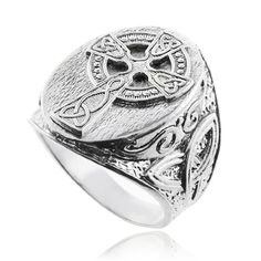 awesome Silver Celtic Cross Trinity Knot Ring