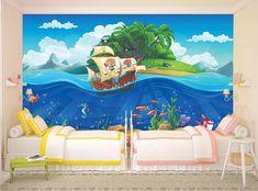 Cartoon WALLPAPER MURAL Undersea World Pirate Boat WALL ART Kids Room Decor