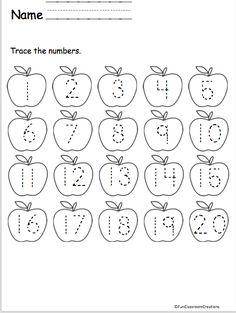 Fall Number Tracing to 20 – Apples Trace the numbers to 20 on the apples. Great for the fall and your apple unit. More Fall Worksheets and Activities Fall Math & Literacy Unit for Kinderg… Numbers Kindergarten, Numbers Preschool, Kindergarten Math Worksheets, Math Literacy, Preschool Writing, Preschool Learning Activities, Preschool Curriculum, Homeschooling, Printable Preschool Worksheets