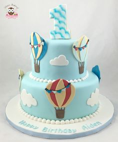 up up and away cake, hot air balloon cake, balloon cake, 1st birthday cake, growing up cake, cloud cake