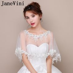 74b9593f2 JaneVini 2018 Elegant White Bridal Lace Bolero Beaded Wedding Cape Short  Sheer Bride Shrug Women Evening