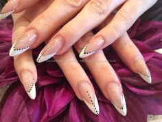 Edge stiletto nails with gel polish nail art