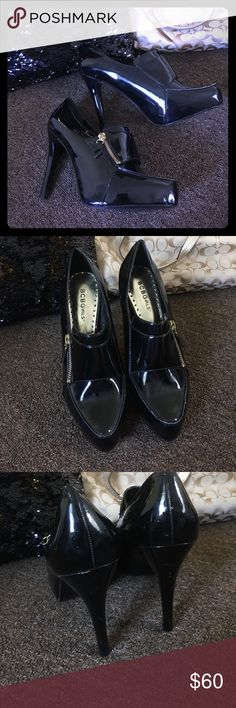 BCBG Patent Leather Stilettos These are super sexy black shiny patent leather 4.5 inch heels.  Gold side zipper.  Excellent condition only worn once. BCBG Shoes Heels