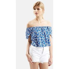 Topshop Floral Print Off the Shoulder Top (2,110 PHP) ❤ liked on Polyvore featuring tops, blue multi, floral crop top, floral top, white crop top, white wrap top and wrap top
