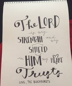 Hand lettered scripture quote
