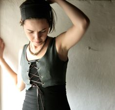Corset Vest - Medieval bodice - steampunk layering top in cotton with leather cord - LARP costume. €70.00, via Etsy.