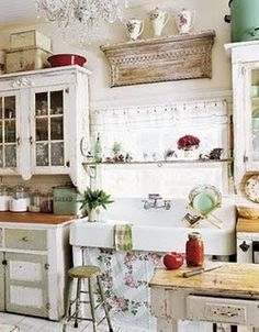 My Dream Home Shabby Chic Kitchen Decor Ideas. Seasons For All At Home Decorating In Shabby Chic. Vintage Decorating Ideas Home Interior. Cocina Shabby Chic, Estilo Shabby Chic, Shabby Chic Homes, Kitchen Interior, New Kitchen, Vintage Kitchen, Kitchen Ideas, Cozy Kitchen, Kitchen Inspiration