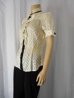 DIANE VON FURSTENBERG Shirt Blouse Sz 4 Ivory/Black Lace Ruffles #DVF #Blouse #Career