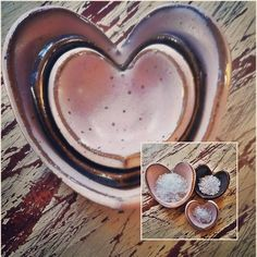 """""""If you want to know where your heart is, look to where your mind goes when it wanders"""" ~Bernard Byers  Sweet little nested heart bowls, perfect for jewelry, trinkets, or in the kitchen... from big to small, they hold... 1 tablespoon, 1 teaspoon, and 1/2 teaspoon. Message me or look for them coming to my #etsy shop #handmade #pottery #ceramics #happy #heart #gift #giftsforher #giftsforhim  #valentines #valentinegift #giftsfromtheheart #kitchen #jewelry #measuring #bowls #pink #pia"""