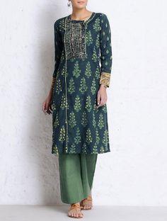 Buy Green-Lemon Natural Dyed & Hand Block Printed Stitch Detailed Yoke Cotton Kurta Online at Jaypore.com
