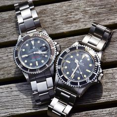 Submariner galore Enjoy your day 1680 red submariner (meters first) and a 5513 by woutwatching #rolex #submariner
